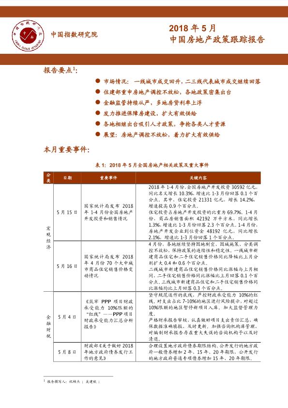 2018年5月中国房地产政策跟踪报告-中国指数研究院-2018.06-28页